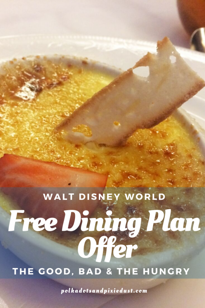 We LOVE the Free Dining Plan at Disney, BUT... what if it means trying to change your vacation? What if you don't really love all those quick serve places? What if you realize you just don't eat that much and spent your whole vacation in a restaurant? Here's all the things to consider with Free Dining at Walt Disney World. #disneydiningplan #polkadotpixies #disneydining #disneytips #disneyonabudget #disneydiscounts