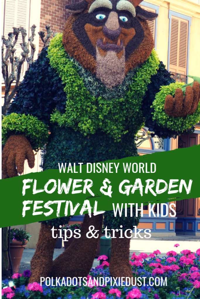 Disney Flower and Garden Festival with kids, everything they can do, the remy game, kidcot, shows and more. #disneywithkids #disneyflowerandgarden #disneyworld #disneytipsandtricks #polkadotpixies