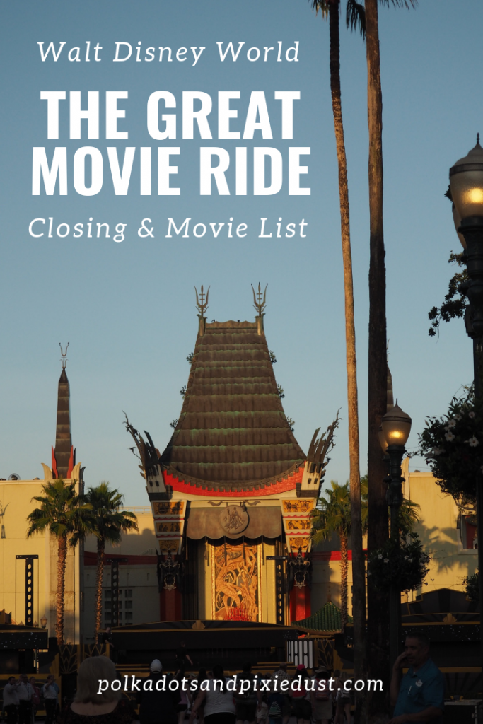 The Great Movie Ride at Walt Disney World has closed but you can still see the list of movies featured and some pictures to get you in the classic hollywood mood. #hollywoodstudios #waltdisneyworld #disneyrides #disneygreatmovieride #mickeysrunawayrailway #polkadotpixies #classichollywoodmovielist #oldhollywoodmovielist