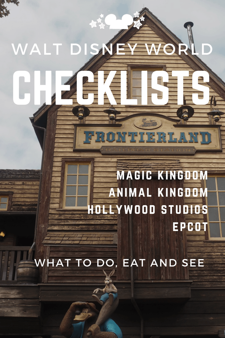 walt disney world must do lists of things to do, eat and see at all four parks. #disneychecklists #disneybucketlists #disneyplanning