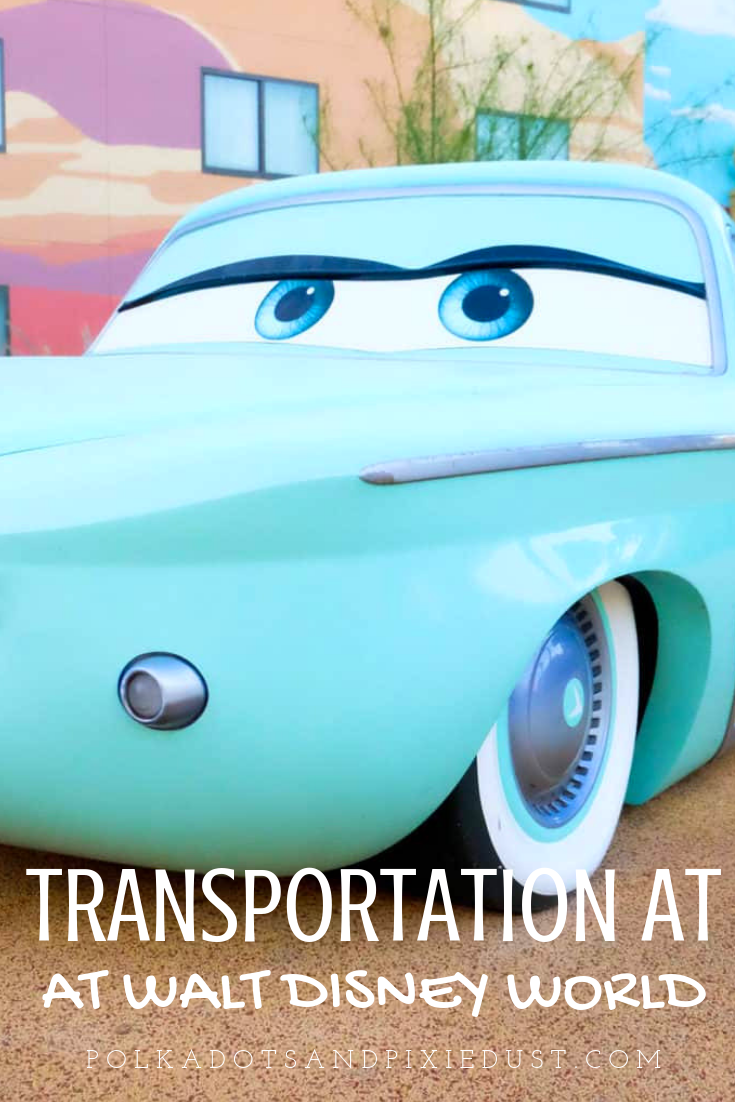 All the Disney World Transportation options from cars, to monorails, to boats to gondolas! Here's what you need to know. #disneytransportation #disneytips #polkadotpixies #disneyvacationtips