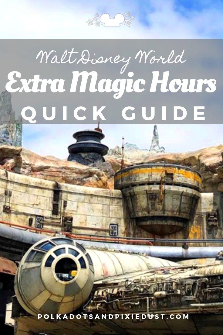 Here's everything you need to know about the Extra Magic Hours at Walt Disney World. These are not the paid-for event hours, but just those extra perks you get for staying on property! #disneyparks #waltdisneyworld #extramagichours #disneytips #polkadotpixies