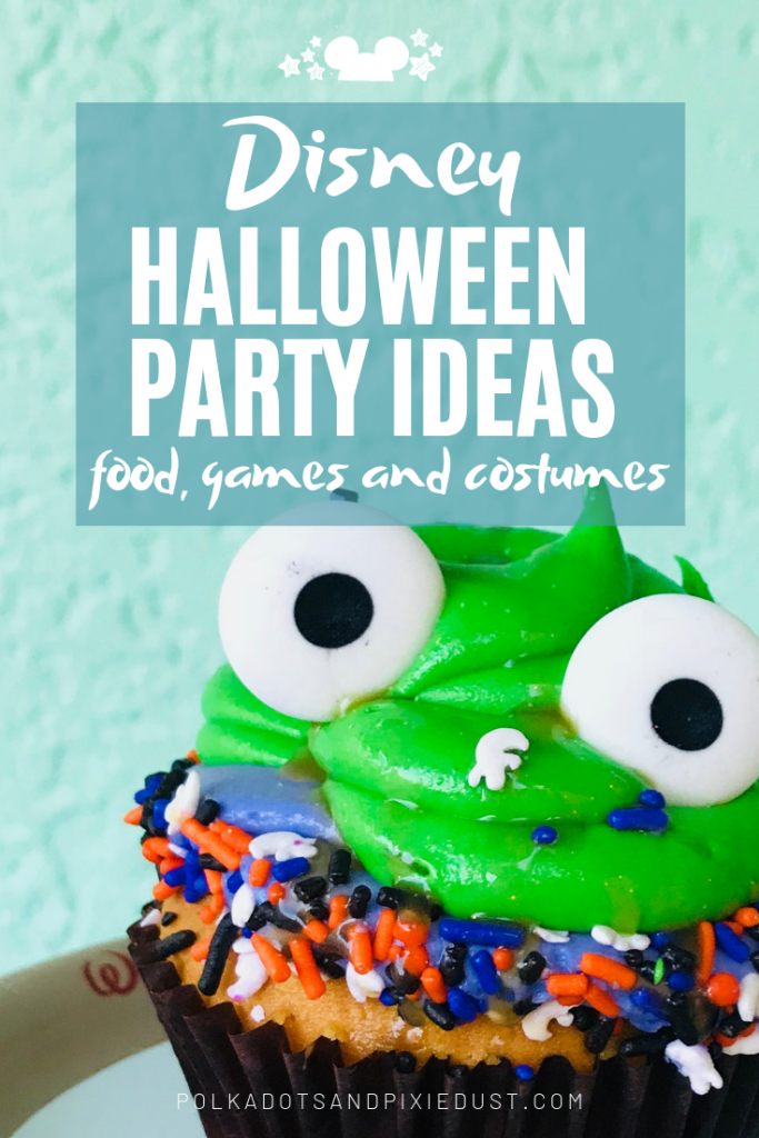 Disney Halloween Party Ideas for a last minute party include foods, music, quick costumes and decor! See all our favorite halloween party ideas you can pull together at the last minute. #disneyhalloween #disneyparty #polkadotpixies #disney