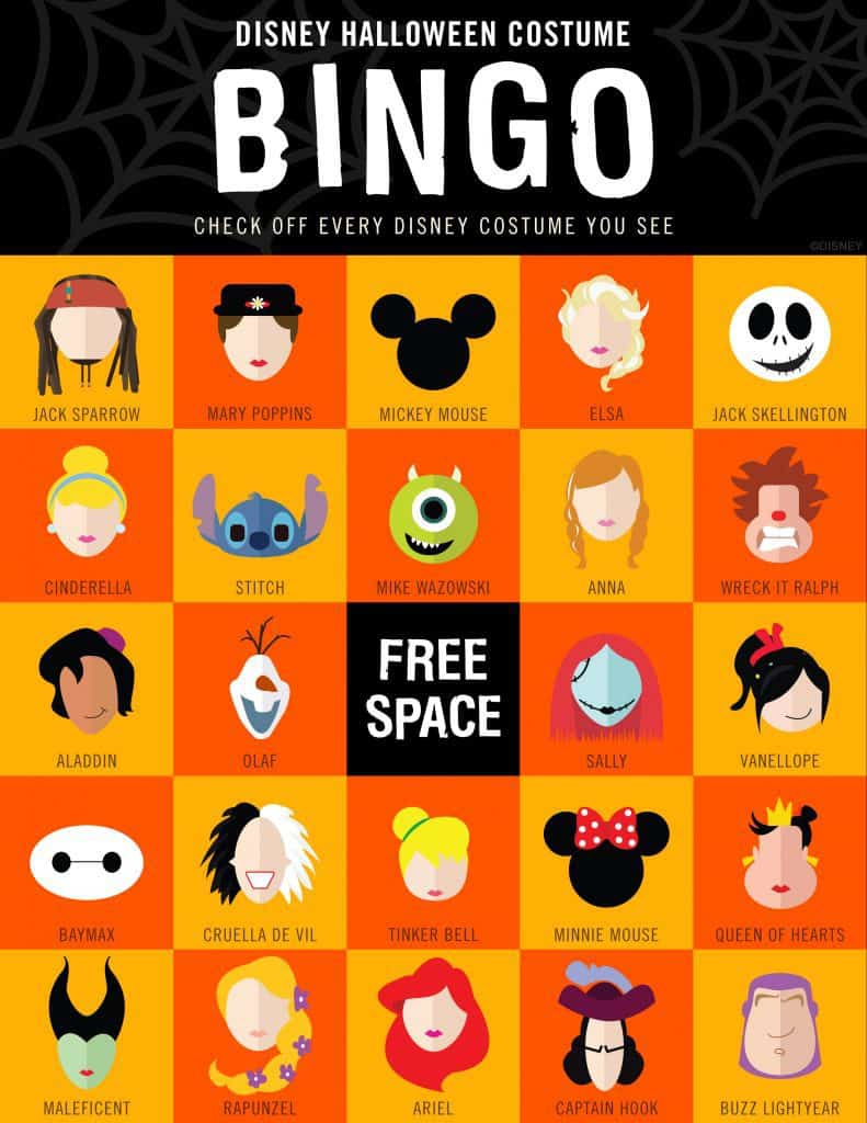 picture relating to Disney Bingo Printable titled A Disney Halloween Occasion At Property - Polka Dots and Pixie Filth
