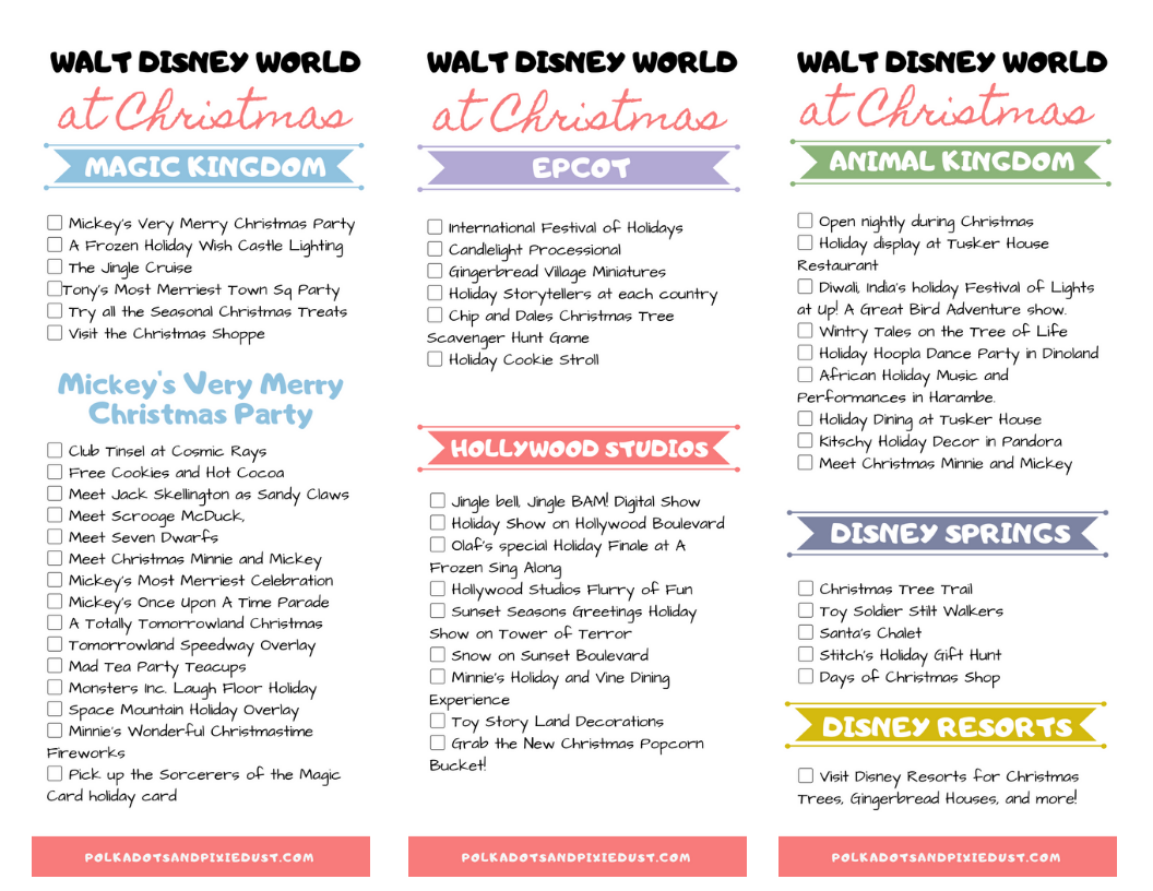 Walt Disney World Christmas Checklist