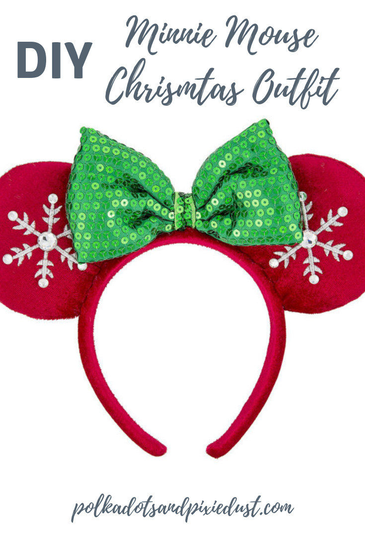 Grab the stuff you need to make the perfect Christmas outfit to match minnie mouse! for the holidays ! #minniemouse #disneychristmasoutfits #disneyholidayparty #disneyDIY
