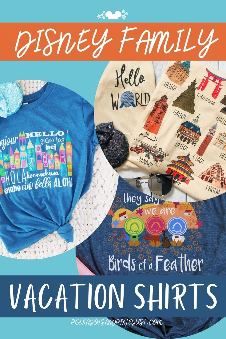 Disney Vacation Shirts for the Whole Family! Three Caballeros Epcot Small World and 50th Anniversary Designs in the Shop! #polkadotpixies