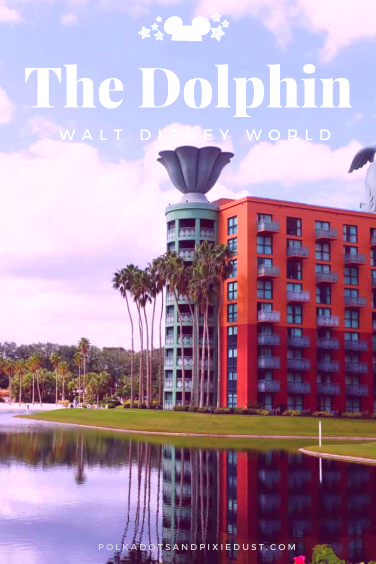 The Dolphin Hotel at Walt Disney World is in a prime location on the Disney Boardwalk in between Epcot and Hollywood Studios and offers great rooms, food and more! #swandolphin #waltdisneyworld #disneyresorts #polkadotpixies