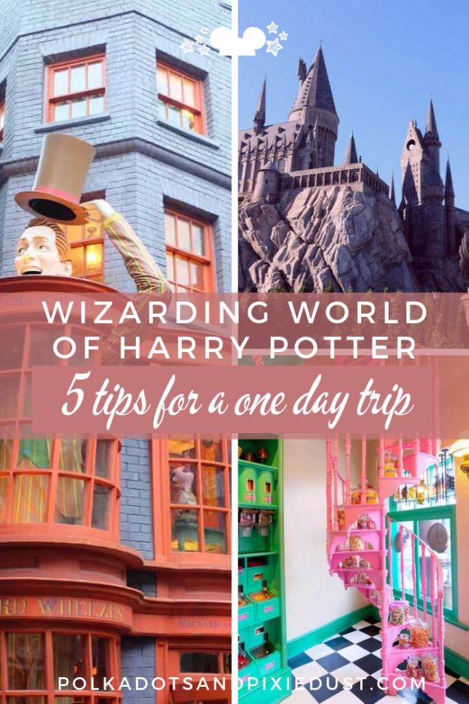 Wizarding world of Harry Potter! 5 Tips for a one day trip! You CAN fit it all into one day at Universal Studios! Here's what you need to know. #wizardingworld #harrypotter #universalstudios #harrypottervacation #polkadotpixies