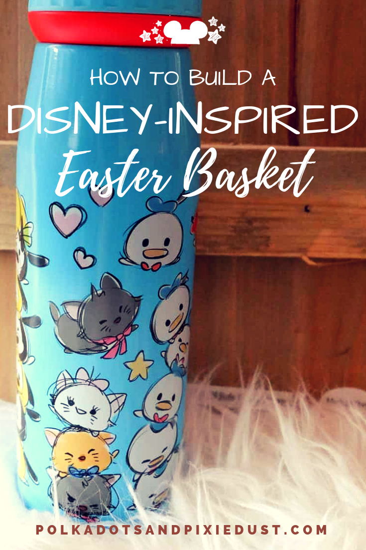 How to Build a Disney Easter BAsket. 5 things you can buy to get you started on an disney theme! #disneyeaster #disneyDIY #polkadotpixies