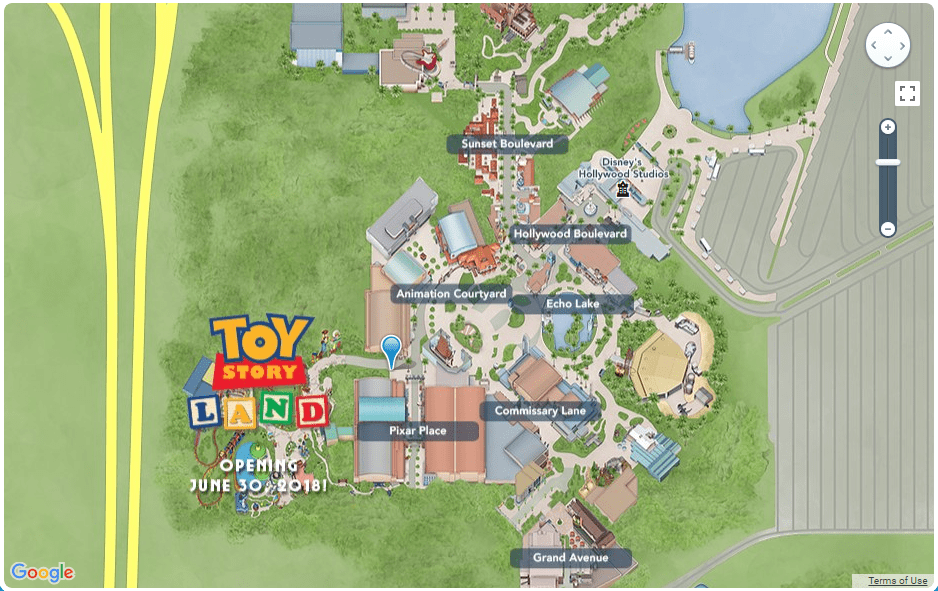 wdw toy story land map google maps