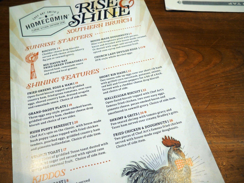 Chef Art Smith's Homecomin Disney Menu and Brunch REview at Disney Springs Orlando Florida