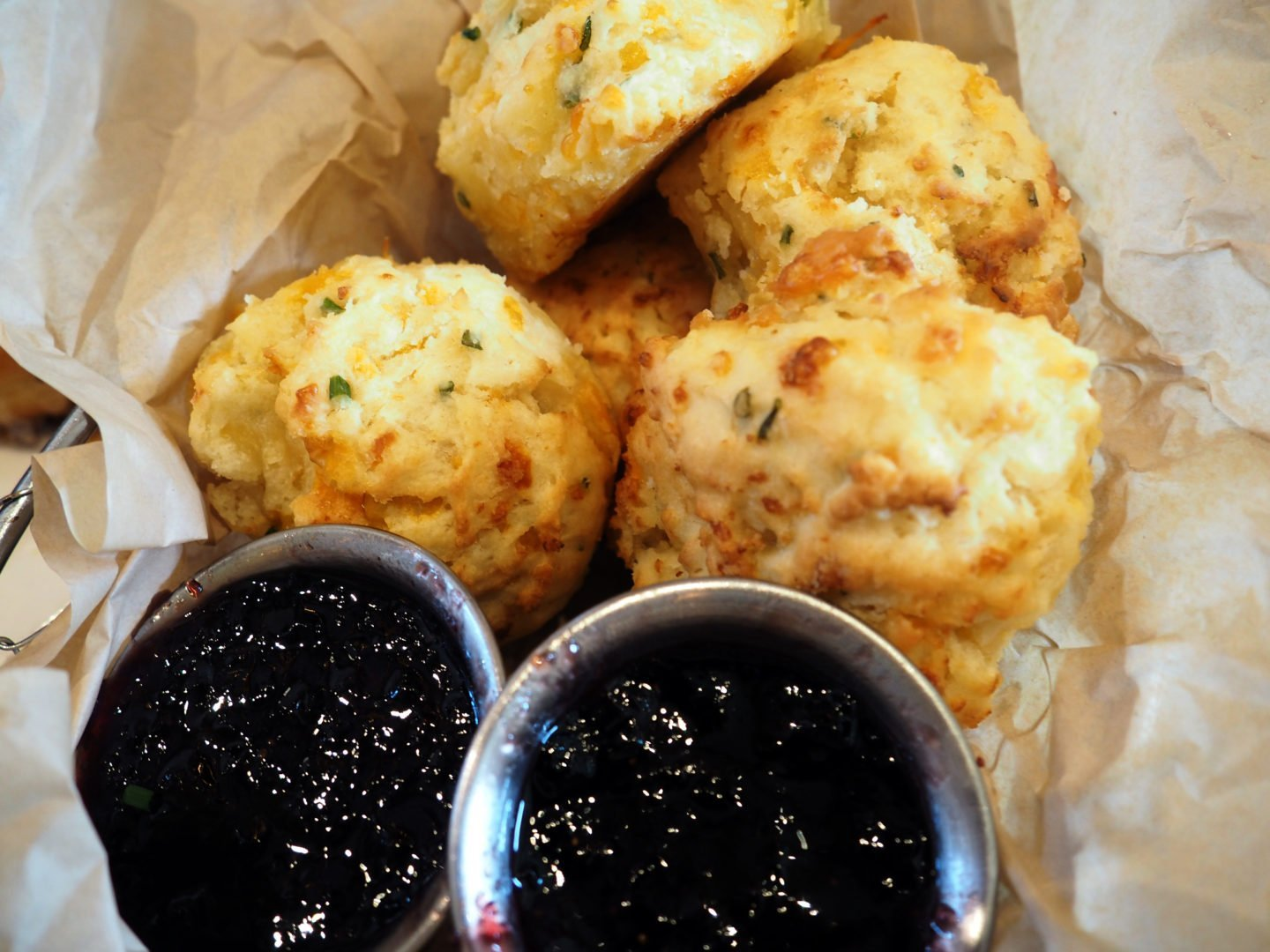 cheddar biscuits and blackberry jam at homecomin