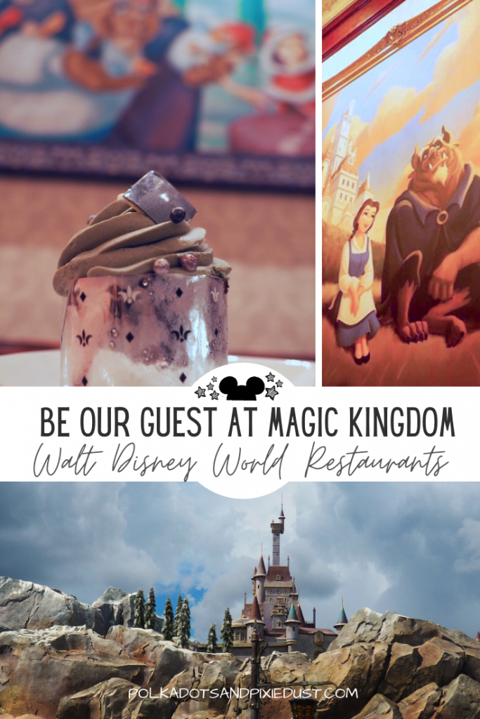 Magic Kingdom's Most Popular Restaurant! The Beauty and the Beast inspired dining experience. Be our guest restaurant review at walt disney world #beourguest #disneyrestaurants #disneyreviews #polkadotpixies