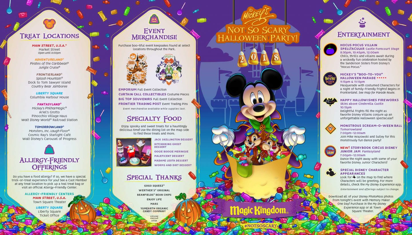 mickey's not so scary halloween party Map 2018 at walt disney world #disneyhalloweenmap #mcssh #disneyhalloween2018