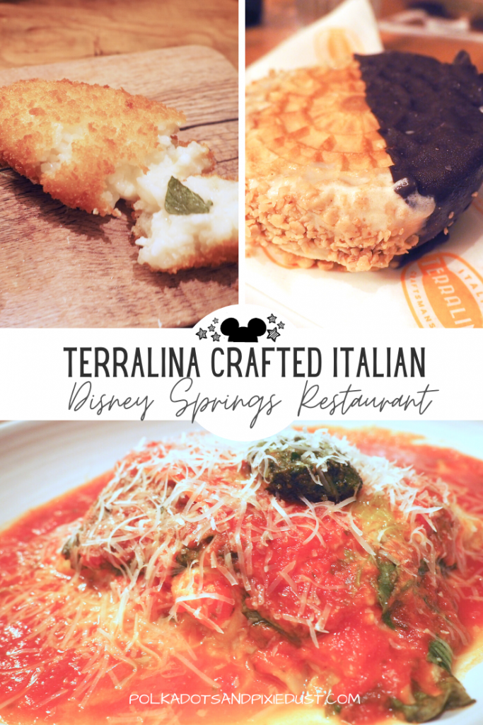 Terralina Crafted Italian at Disney springs Walt Disney world. While it's true there is no shortage of Italian at Disney World, check out Terralina for what we liked, budget friendly dining and hefty portions. #terralinacrafteditalian #disneysprings #disneyrestaurants #disneyvacation #polkadotpixies