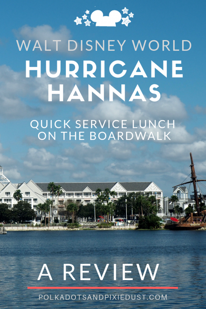 Hurricane Hannas Waterside Bar and Grill at Walt Disney World on the Boardwalk near Epcot. Everything you need for a quick service lunch on the cheap in a pretty spot on the beach. #hurricanehannas #disneyrestaurants