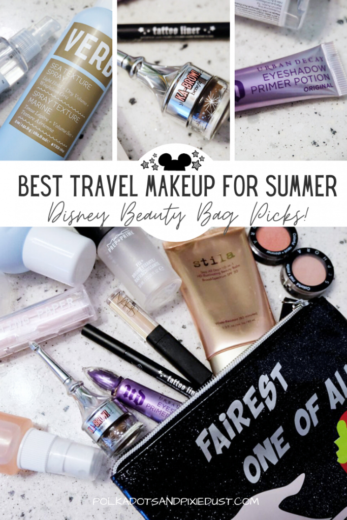 Travel Makeup and Beauty Products perfect for summer travel to our favorite Disney Parks. The best photo-ready makeup and hair products that won't melt in the heat and humidity. Check out our Disney Beauty Bag Picks! #disneybeauty #travelmakeup #disneyvacationtips #beautytips #summerbeauty