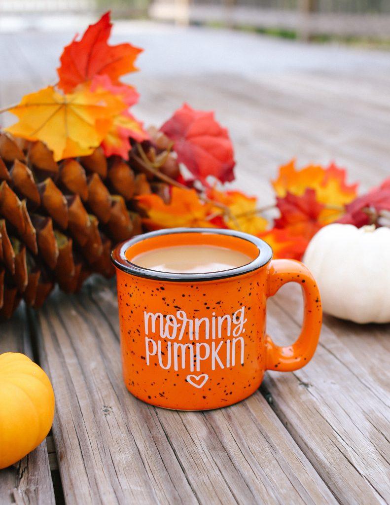 Rosealynne Love hand lettered pumpkin mug #halloweendecor #polkadotpixies #falldecor @rosalynnelove