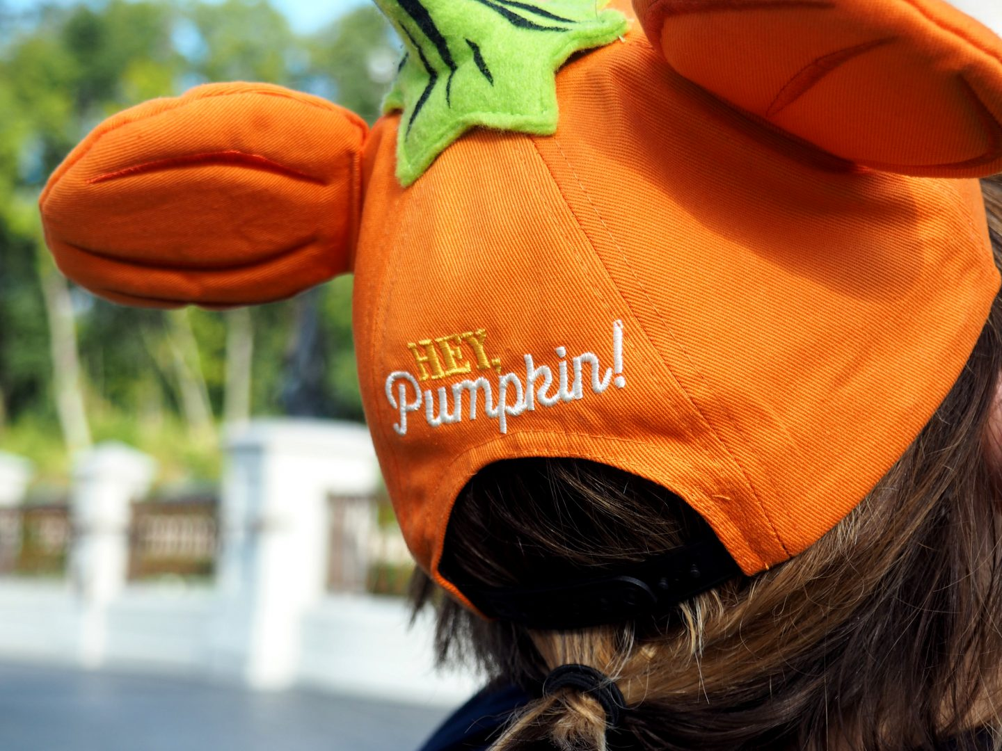 halloween at walt disney world hey pumpkin hat at mickey's not so scary halloween party #disneyhalloweenmerchandise #disneystyle
