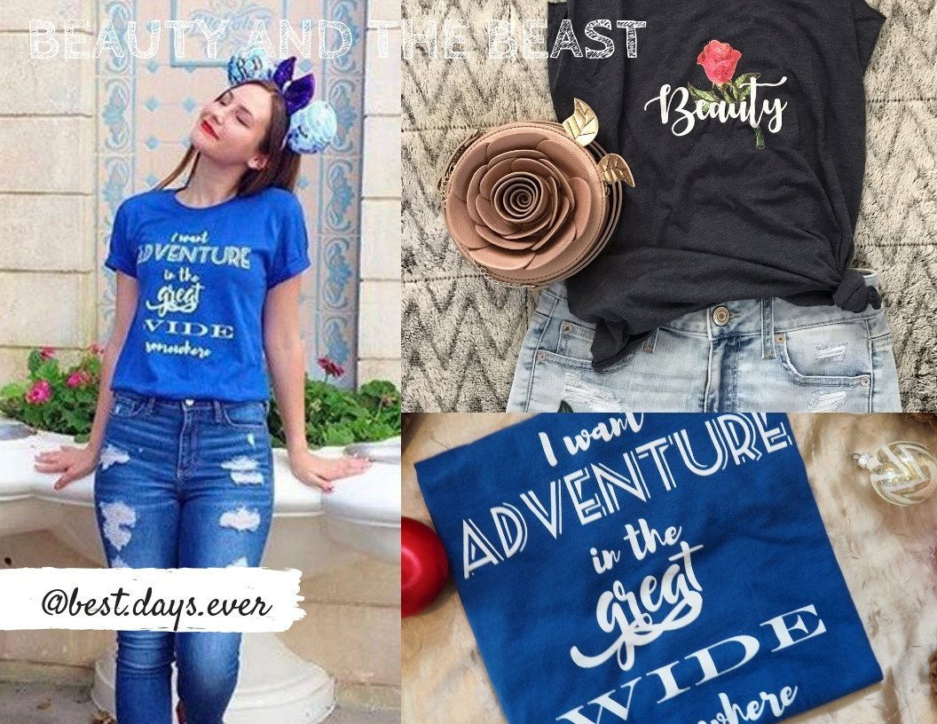 i want adventure in the great wide somewhere shirt beauty and the beast #polkadotpixieshop