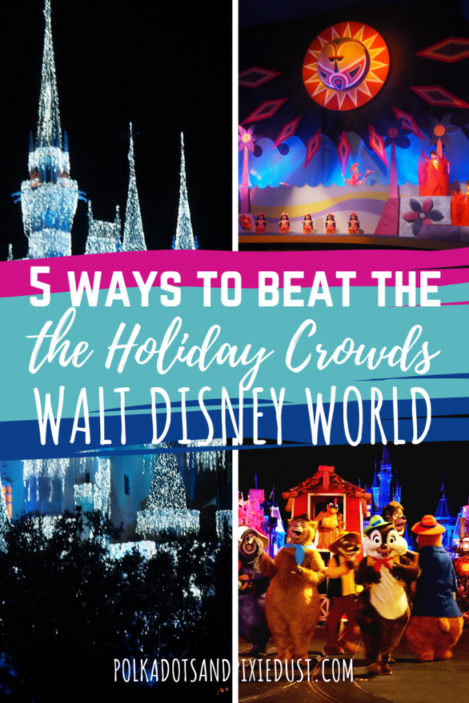 Visiting Walt Disney World for the holidays, means crowds. LOTS and lots of crowds. So how can you manage it without ruining your vacation? Here are our TOP 5 Ways to Beat the Crowds at Walt Disney World. #disneytips #disneyworld #disneycrowds #polkadotpixies