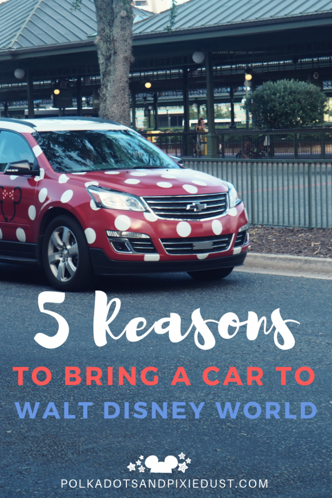 Should you bring a car to Walt Disney World? Here's 5 reasons why, even with the parking fees, bringing your own car may be the best idea you've ever had! So if you're considering driving to disney or renting a car in Florida! Read these 5 reasons we think a car may be a good idea! #disneytips #disneyplanning