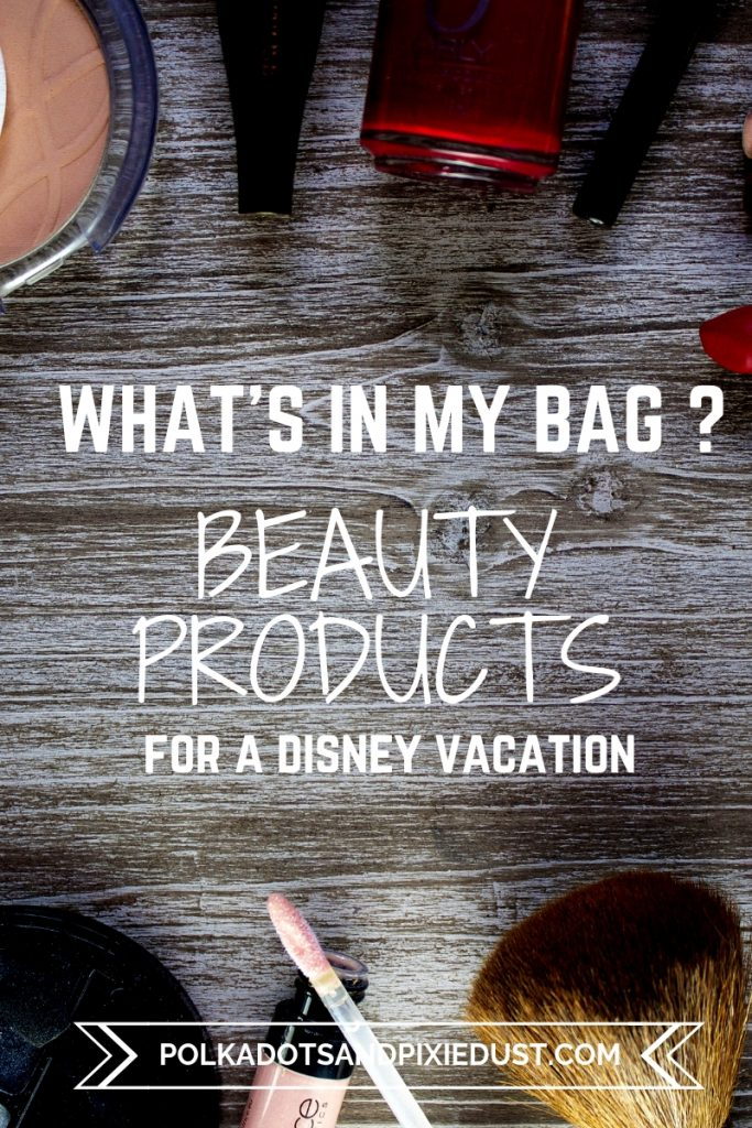 What's in My Beauty Bag? If you're getting ready for a vacation and need some go-to beauty products, here is our list of travel friendly must have beauty items. #beautyproductlist #holygrailbeauty #polkadotpixies