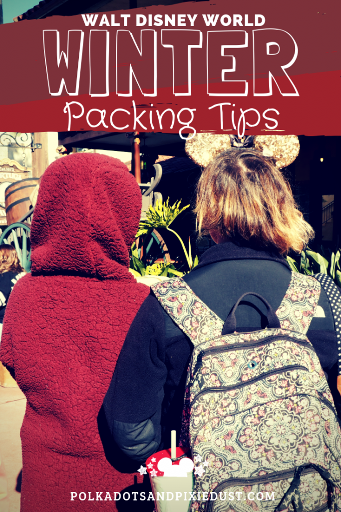 Disney Packing tips for Winter at Walt disney World. It's colder than you think out there! With breezes and a 50 degree range in December and January temperatures packing for Disney gets tough! Here's our best tips on how to pack the right stuff for your winter holiday in florida. #polkadotpixies #disneyvacations #floridavacations