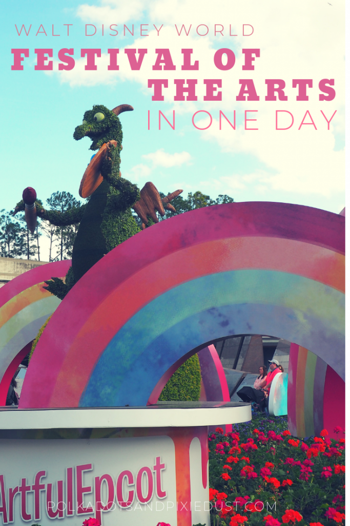 The Festival of the Asts at Epcot Walt Disney World gets bigger every year! So how can you fit in all in once day? Here's the times guide, maps, and our best strategy to make sure you rmaximize your festival time at Epcot .#polkadotpixies #disneytips #artfuleepcot #disneyvacations
