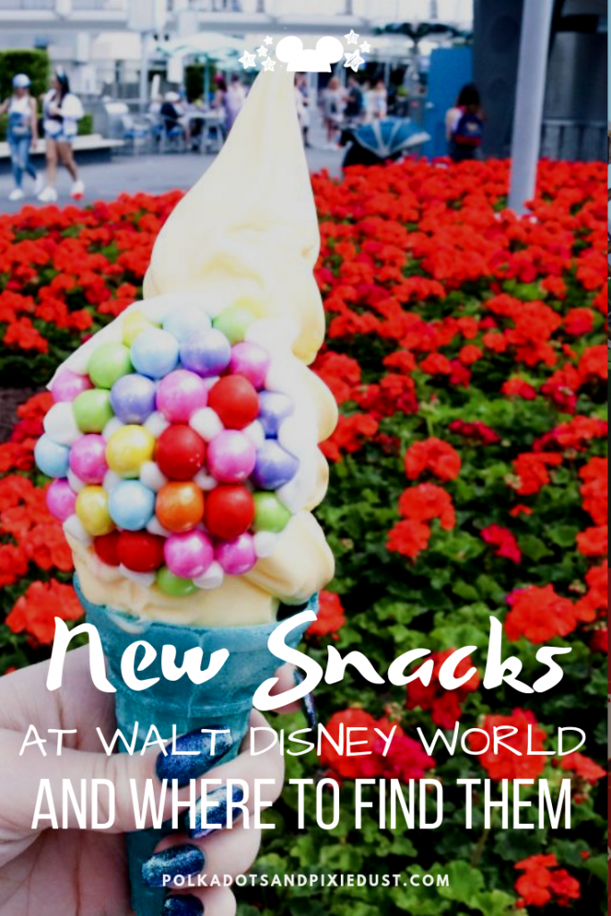 All the New Snacks across Walt Disney World NEW for 2019! From Dowl Whip Cones to new cupcakes and more. Check out all of our favorite must try Disney snacks! #polkadotpixies #waltdisneyworld #disneysnacks #disney2019