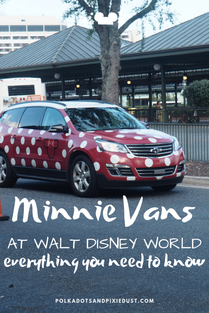Everything you need to know about Minnie Vans. From increased fees, to how it works as an alternative transportation option through Lyft. #polkadotpixies #disneyvacation #disneytips