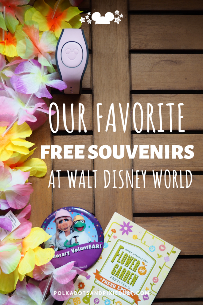 All our favorite FREE Souvenirs at Walt Disney World, from games to toiletries to buttons, here is the list for all you folks trying to save a little money! #disneysouvenirs #freedisney #freethingsatdisney #polkadotpixies