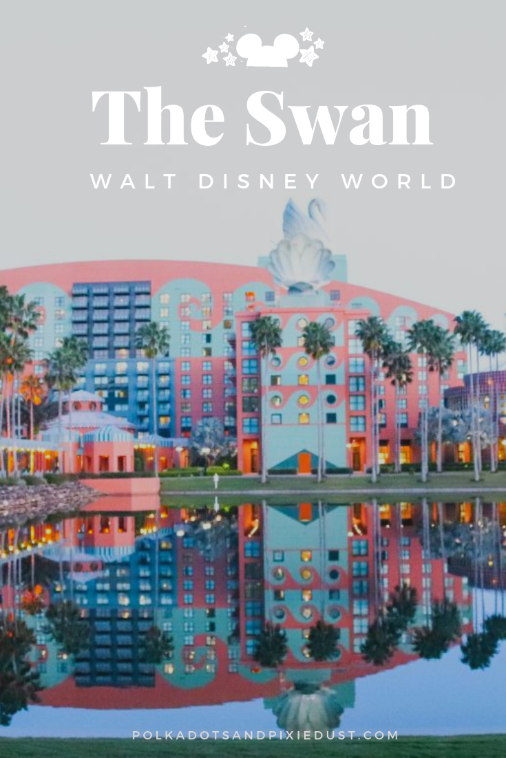 The Swan Hotel at Walt Disney World's Boardwalk provides easy walking access to both Epcot and Hollywood Studios, cheaper rates than regular Disney resorts and deluxe rooms and amenities. BUT, does it have all you need in a Disney hotel? Here's our complete list of pros and cons of the Disney Swan. #polkadotpixies #disneyswan #swandolphin
