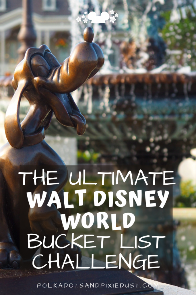 The Ultimate Walt Disney World Bucket List Challenge. 75+ FUN THINGS to do at Disney. A little special, a little unique... a little magical. Do one or do them all. #polkadotpixies #disneylists #disneychallenge #travelbucketlist #waltdisneyworld
