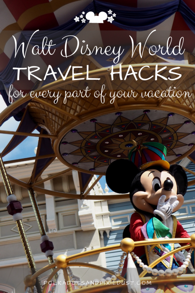 Walt Disney World Vacations require lots of planning, tweaking and some hacking! Check out our list of travel hacks for your Disney Vacation. From grabbing the reservation to the secret paths you can take to avoid crowds. Here's all our favorite hacks. #polkadotpixies #travelhacks #disneyworld #disneytips