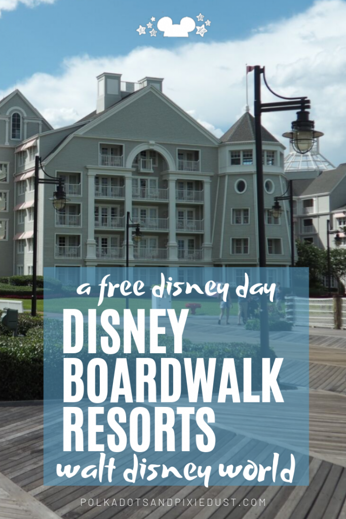 Want a FREE Disney Day? No park tickets are required to expereince the boardwalk and explore the resorts. Here is our roundup of the Boardwalk Resorts at Walt Disney World and what you can do there to hang out, have fun and grab some great food. #disneyboardwalk #freedisney #disneytips #disneyrestaurants #disneyresorts #polkadotpixies