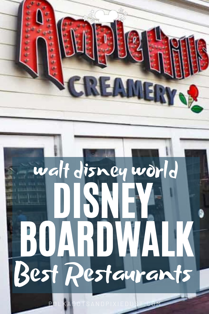 All our Favorite Disney Restaurants on the Disney Boardwalk, so far. Check out the best places to eat at Disney and what to skip! #disneyboardwalk #polkadotpixies #disneyicecream #disneyitalianfood #waltdisneyworld
