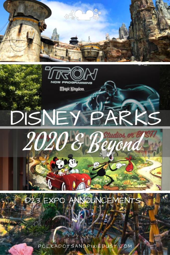 Disney Parks is creating new lands, new rides, restaurants and more! Check out all the Disney Parks news from the D23 Expo! #polkadotpixies #D23 #disneyparks #disneytips #disneynews