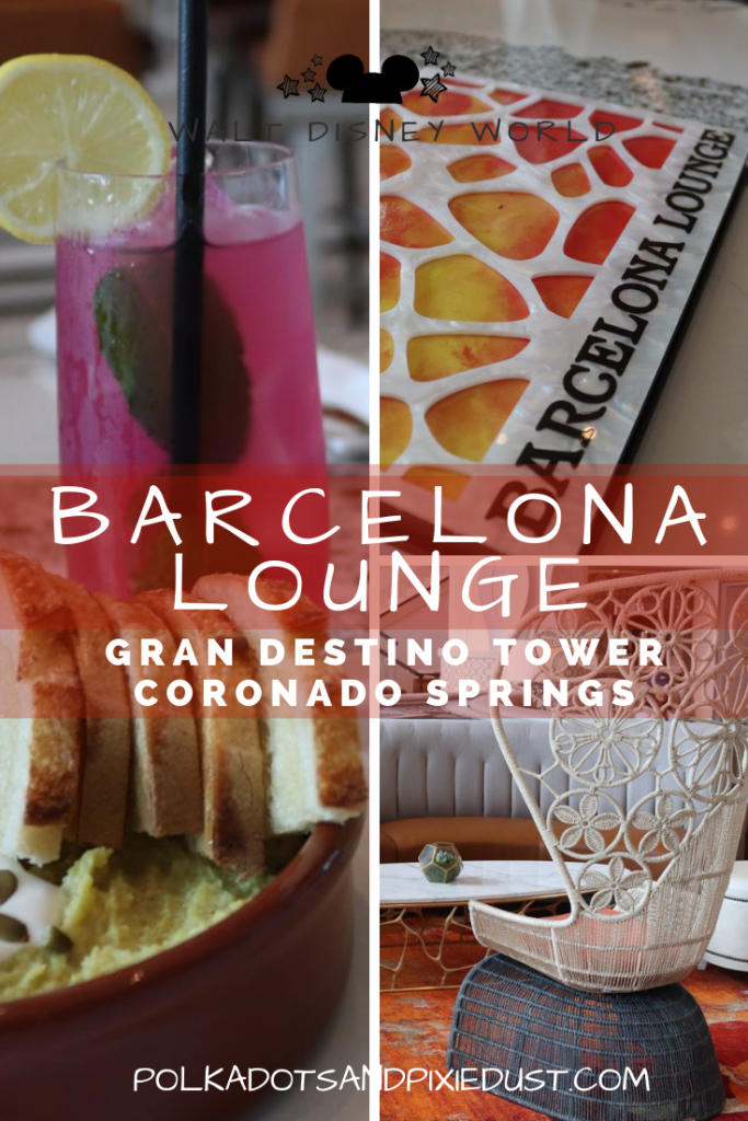 The NEW Barcelona Lounge at the Gran Destino Tower at Coronado Springs Resort at Walt Disney World is both adult and kid friendly!!! See our review complete with great food and fancy drinks. #barcelonalounge #coronadosprings #disneyworld #polkadotpixies