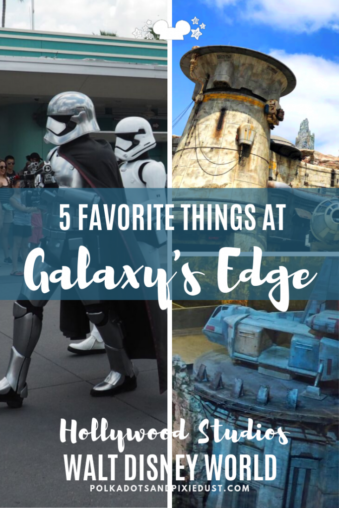 Star Wars Galaxy's Edge at Walt Disney World Hollywood Studios combines food, rides and new shopping on the planet Batuu. Here's 5 things that make this trip worth it! #starwars #galaxysedge #hollywoodstudios #polkadotpixies