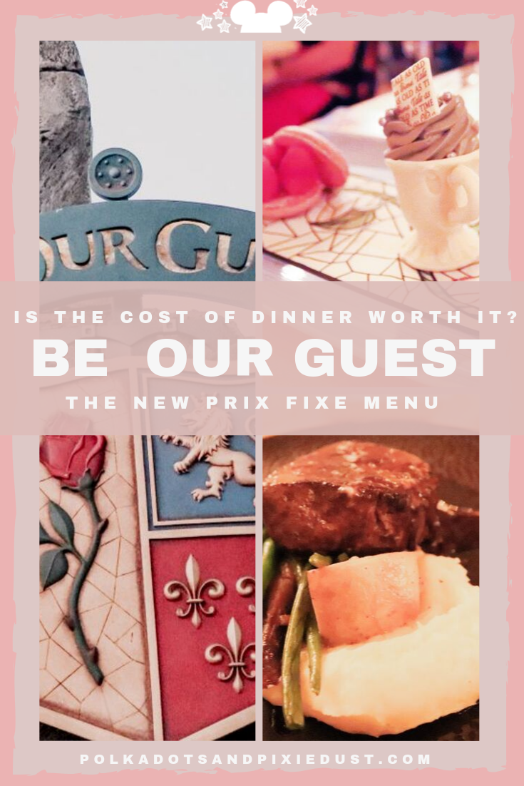 Be Our Guest is a must-do Magic Kingdom Restaurant BUT.. What about Be Our Guest Dinner? With the new Prix Fixe Menu and a higher cost, here's everything you need to know to make the best choice! #beourguest #dinneratdisney #magickingdomrestaurants #disneytips #polkadotpixies