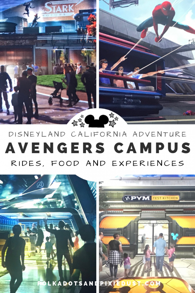 Avengers Campus at Disneyland California Adventure has new rides, new food, and Marvel experiences. Coming Soon. #polkadotpixies #disneyland #californiaadventure #marvelrides #disneymarvel #spidermanride