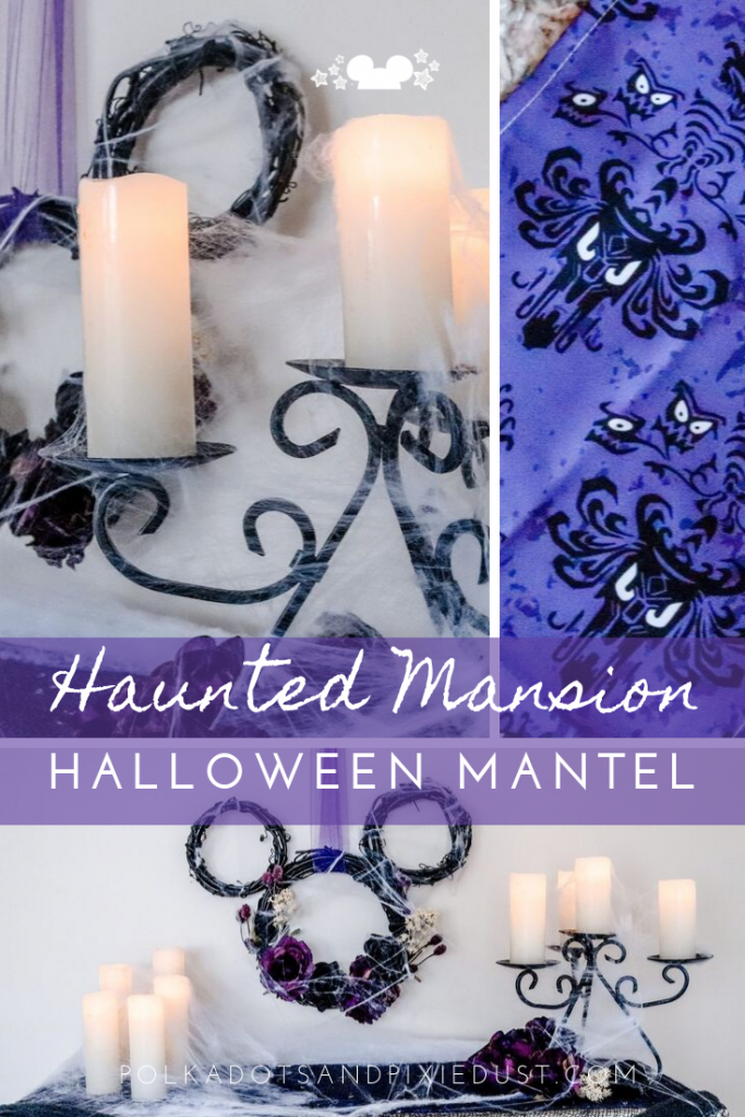 A Haunted Mansion Halloween Mantel just in time for the spooky season. This Disney inspired DIY project features our favorite ride and all things ghostly. Grab all the supplies and Do It Yourself for an extra special Disney Halloween at home. #disneyhalloween #halloweendecorations #hauntedmansion #disneydecor #polakdotpixies