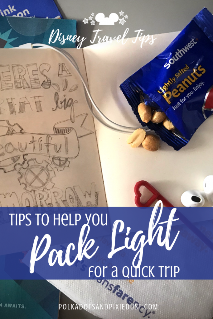 Packing Light for a Quick Trip to Disney or Anywhere means no checked bags, just the essentials and some top tips for making sure you don't need more than you bring. #packlight #disneytips #polkadotpixies #disneyvacations