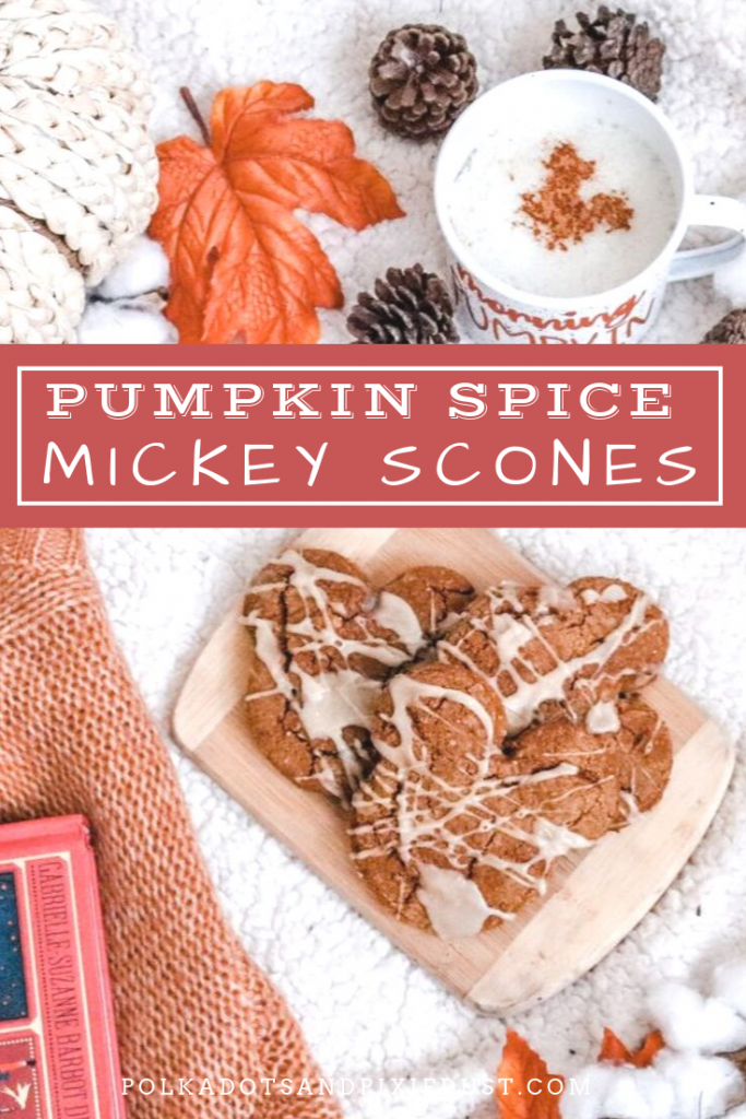 Pumpkin Spice Scones, Disney Style! Grab our BEST Scone recipe, add tons of fall spices and maple icing and you're ready for Fall! #scones #mickey #disneyrecipes #polkadotpixies #disneyathome