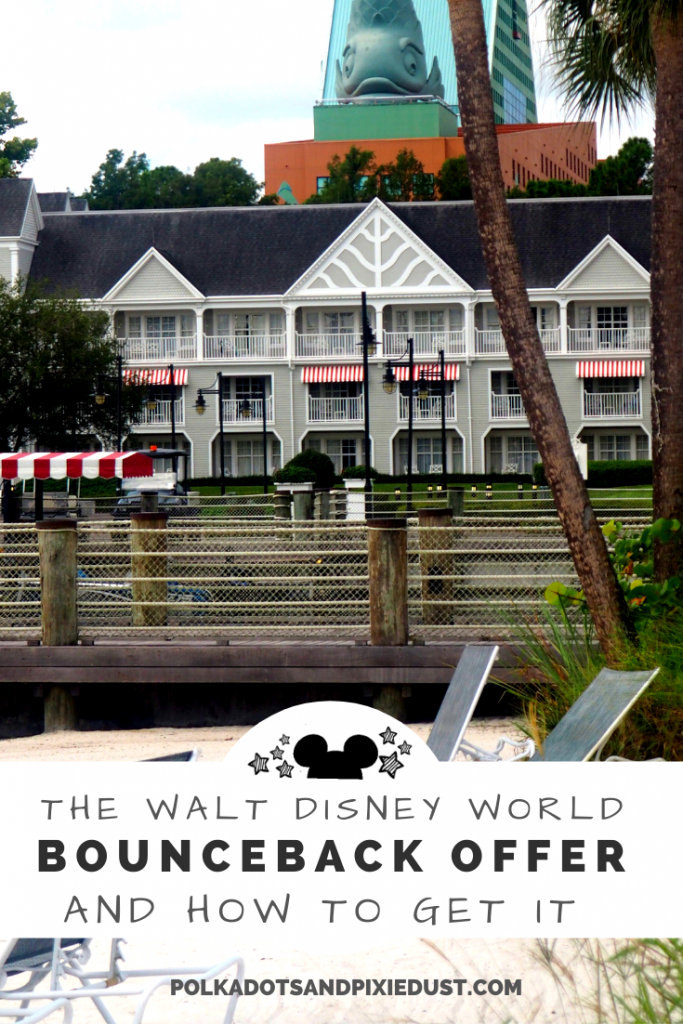 Walt Disney World Bounceback Offer and how to get it! Where to stay and a few tricks to make sure you grab one of these on your next Disney vacation so that you can plan ahead on the cheap! #disneybounceback #disneydeals #disneytips #waltdisneyworld #polkadotpixies