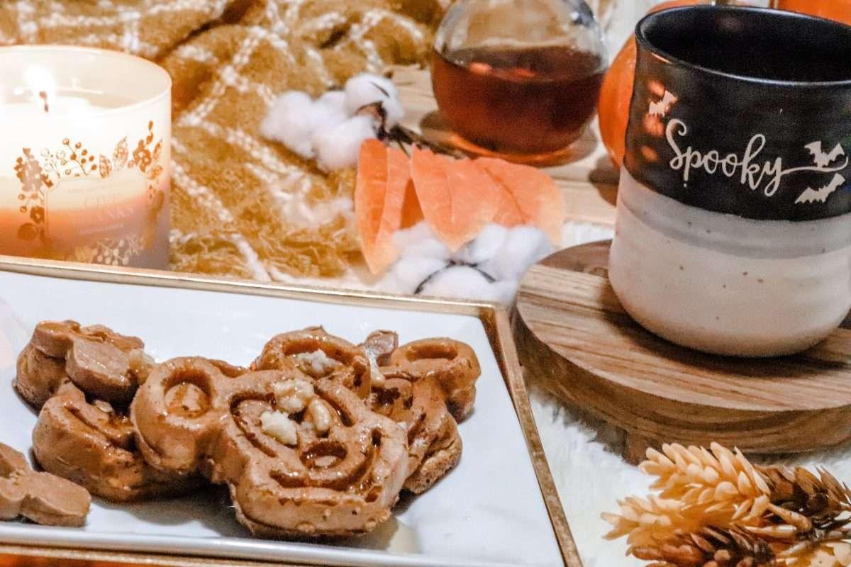 Pumpkin Spice Mickey Waffles, Mickey waffles, mickey shaped food, Disney waffles, Disney recipes, Disney copycat recipe