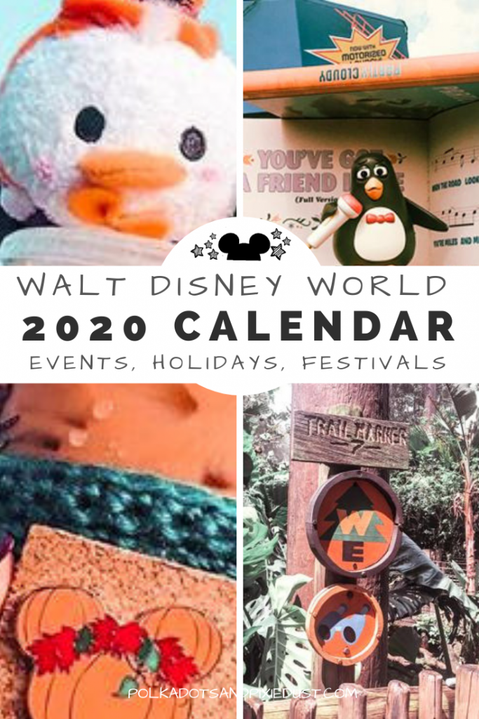 Walt Disney World 2020 Event Calendar. Everything happening in 2020 from Epcot festival dates, to holidays to runDisney events. If you're planing a Disney Vacation, pin this calendar to help you plan the best dates to visit. #disneyplanning #waltdisneyworld #disneytips #disney2020 #disneycalendar #polkadotpixies