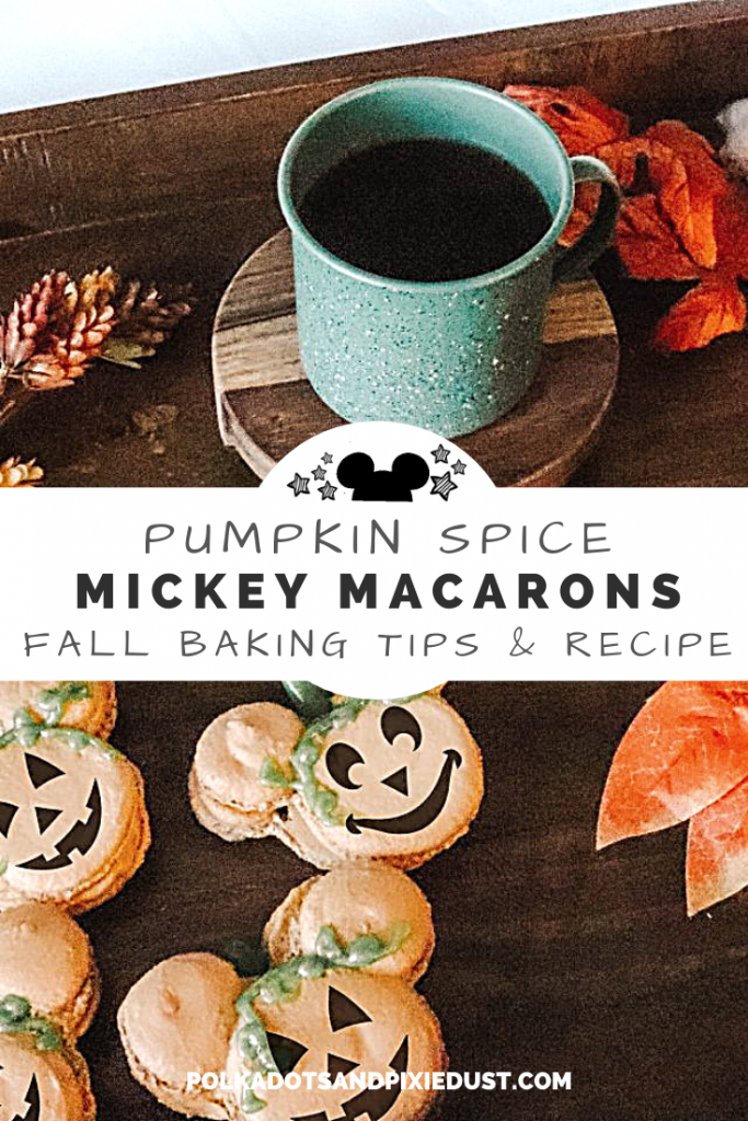 Mickey Treats to Make at home just in time for a Disney Halloween. these pumpkin Spice Macrons are the perfect teatime treat or party snack. #disneyhalloween #disneyrecipes #fallrecipe #pumpkinspice #macronrecipe